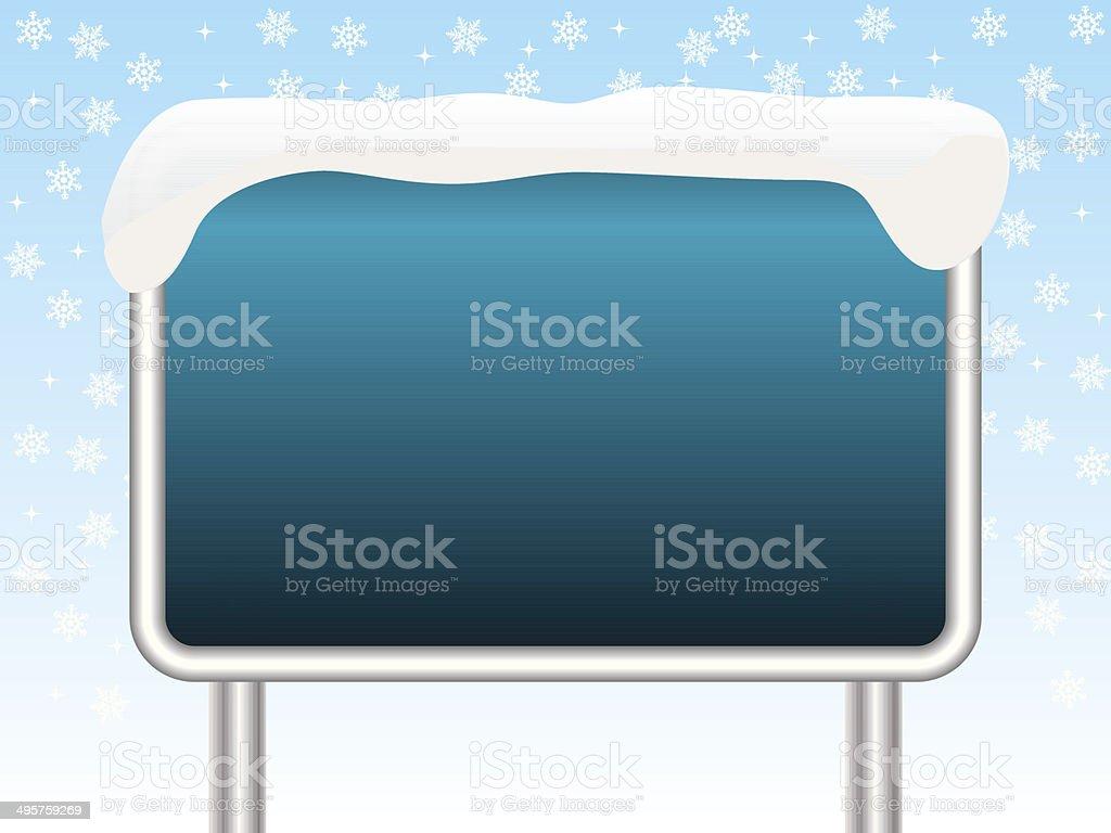 Snowy blue sign vector art illustration