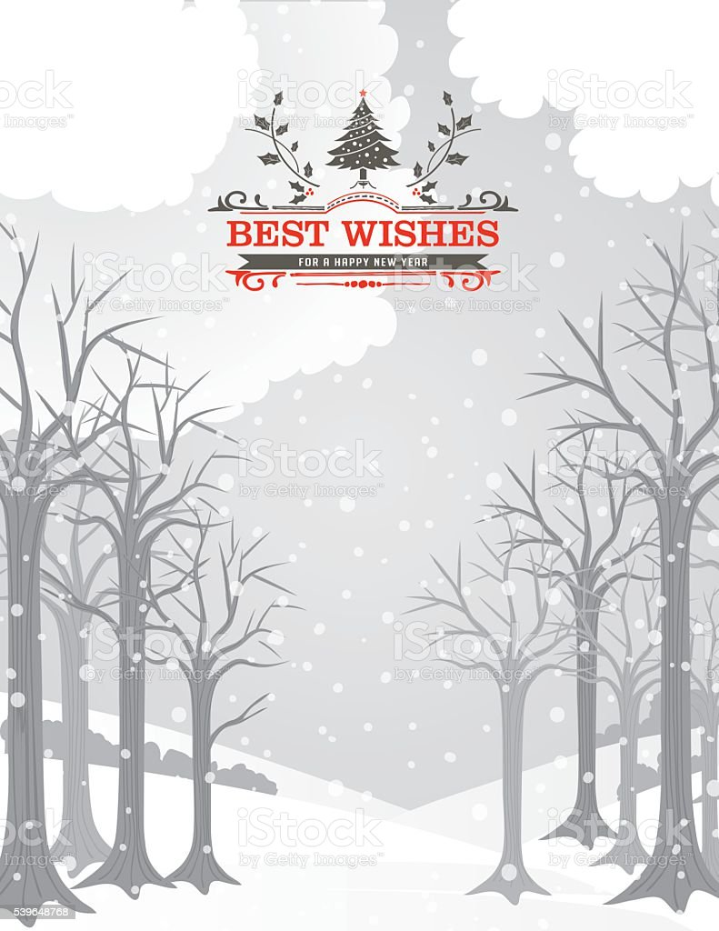 Snowy Christmas Card with Forest And A Holiday Seasonal Decoration vector art illustration