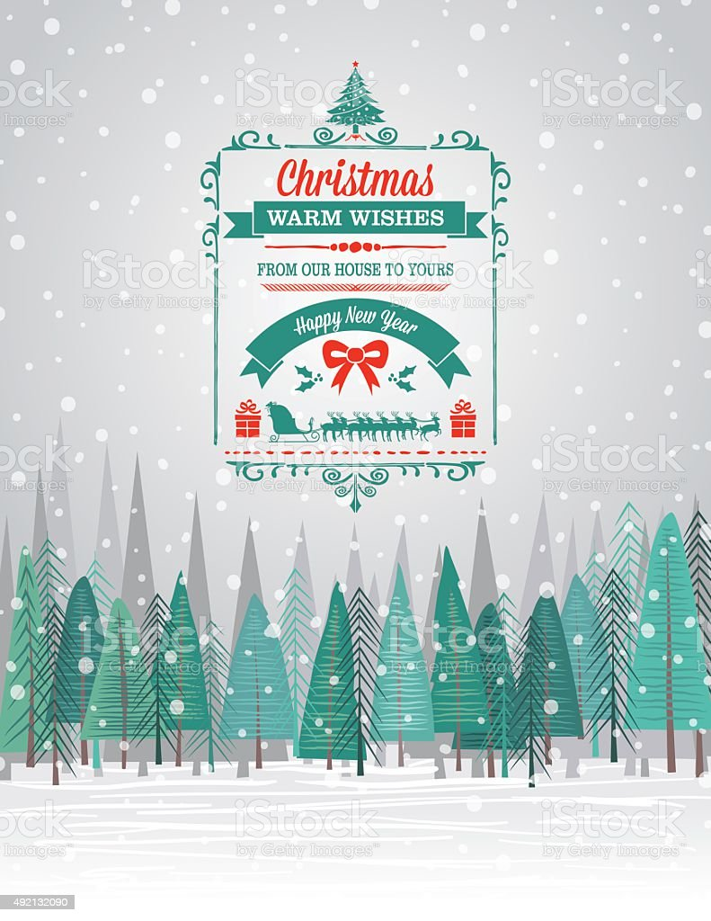 Snowy Christmas Card with Forest And Holiday A Seasonal Decoration vector art illustration