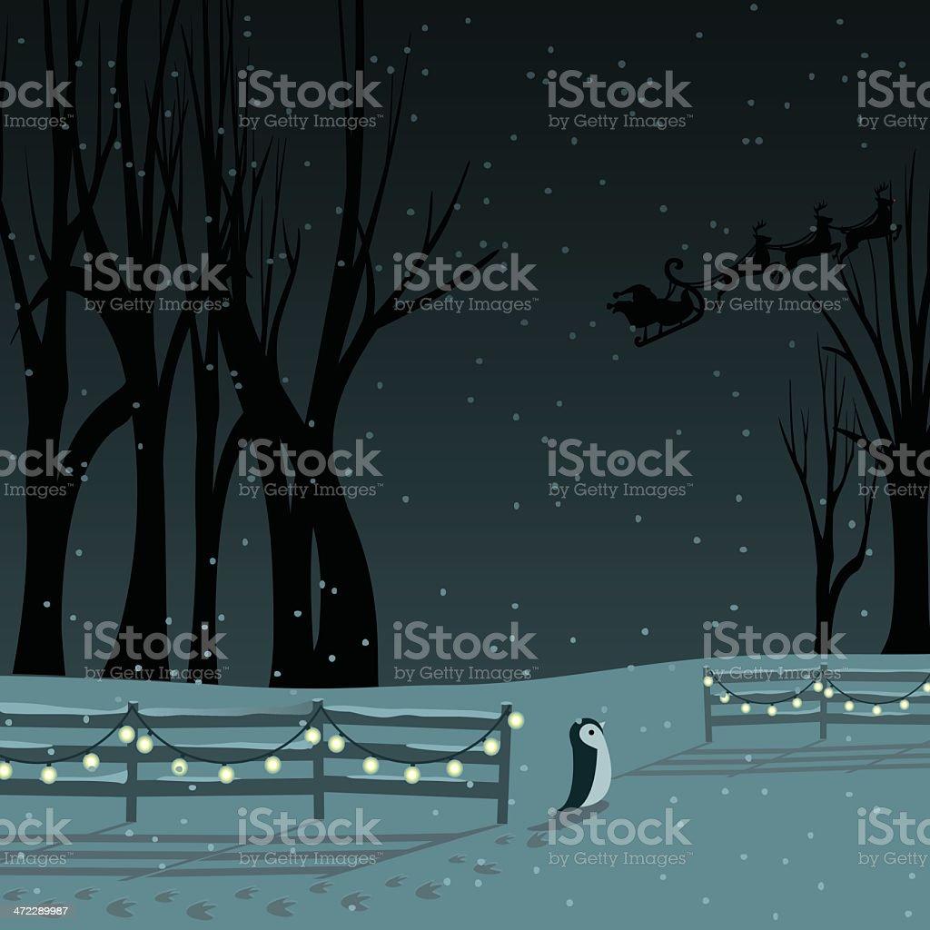 Snowy Christmas Eve royalty-free stock vector art