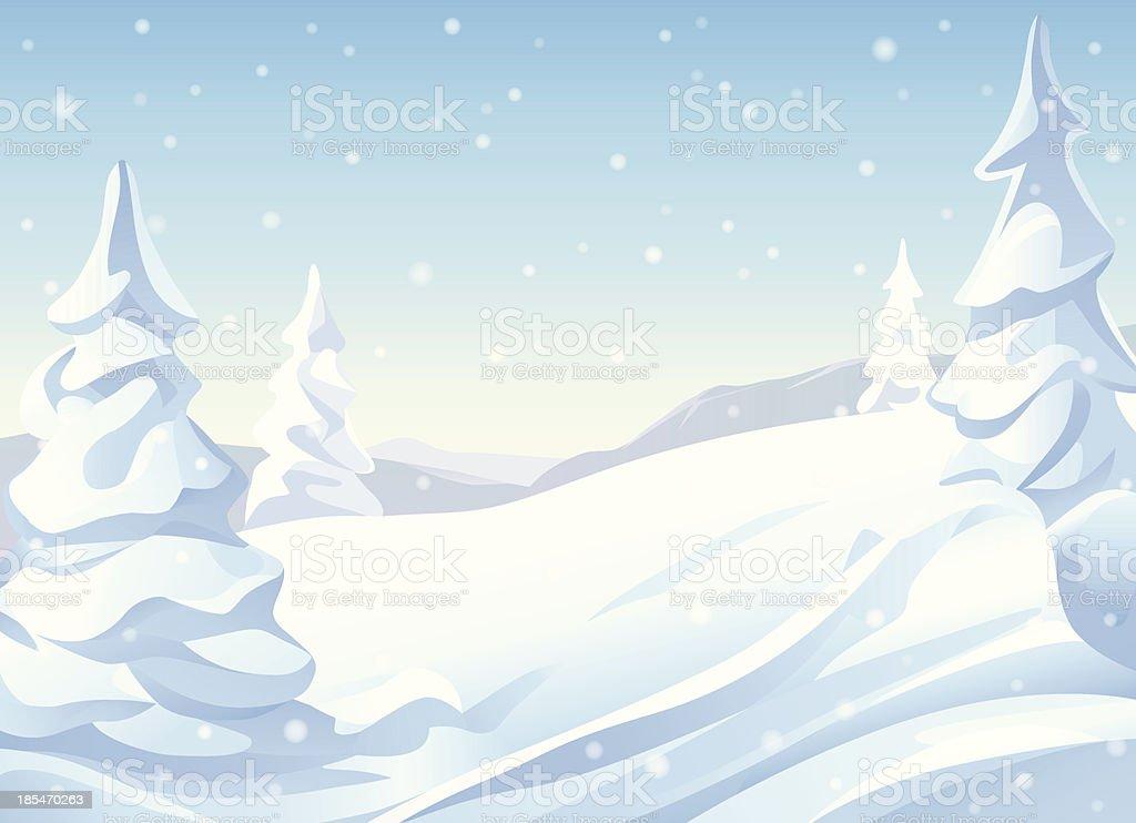 Snowy Hills vector art illustration