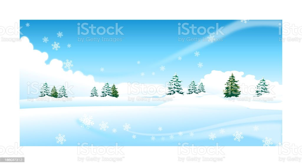 A snowy landscape with fir trees in the distance royalty-free stock vector art