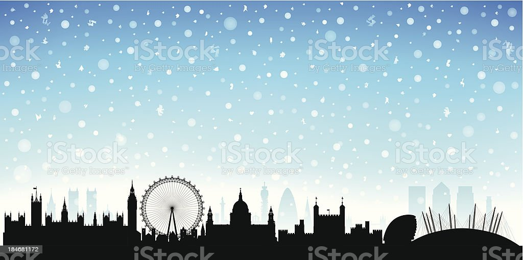 Snowy London (Each Building is Moveable and Complete) royalty-free stock vector art