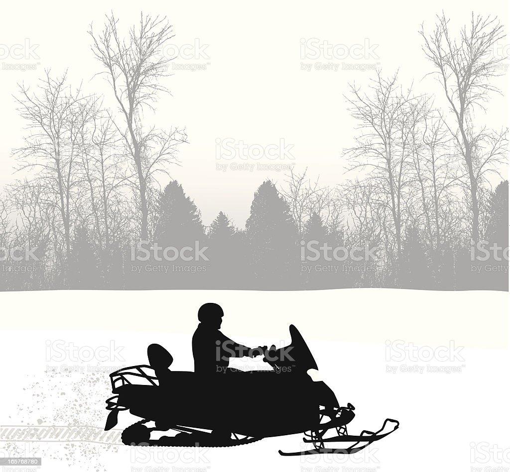 Snowy Mobile Vector Silhouette vector art illustration
