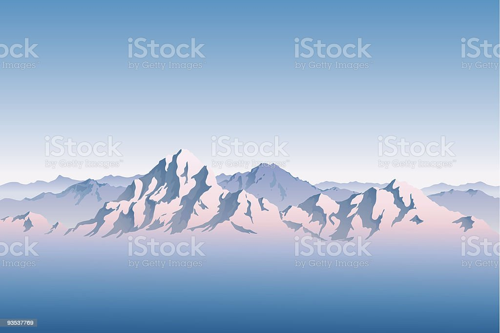 Snowy Mountain Range in Morning or Evening Light vector art illustration