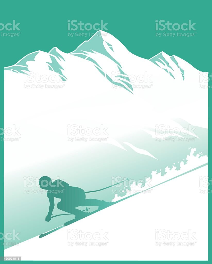 Snowy Mountain With Alpine Skier - Silhouette vector art illustration