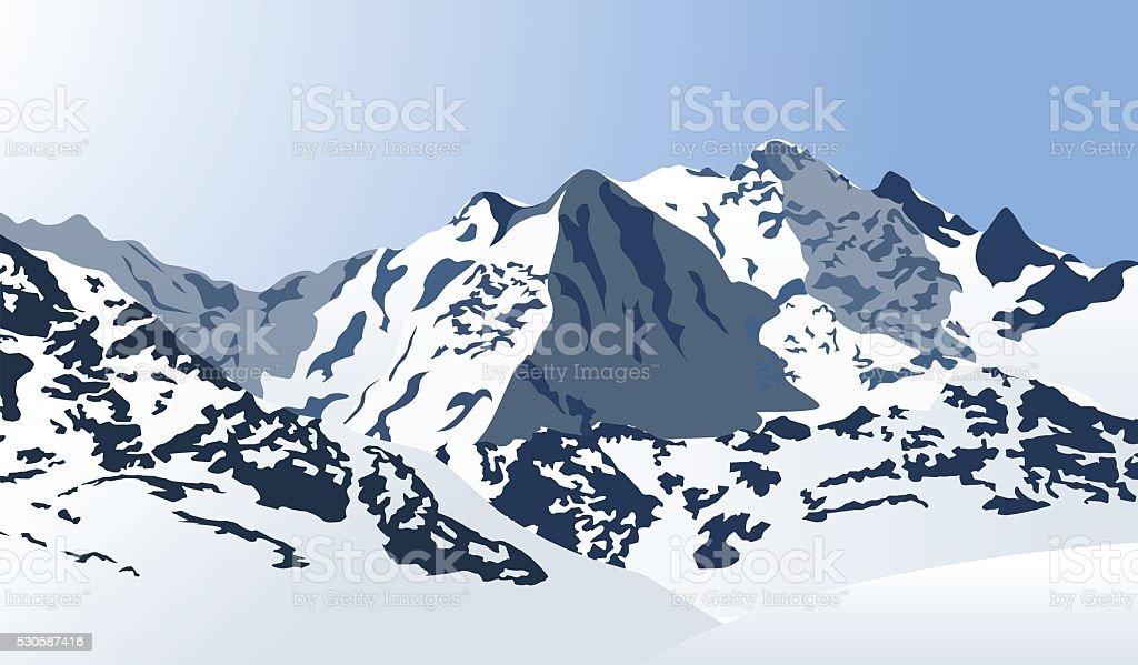 Snowy mountains landscape. Vector illustration. vector art illustration