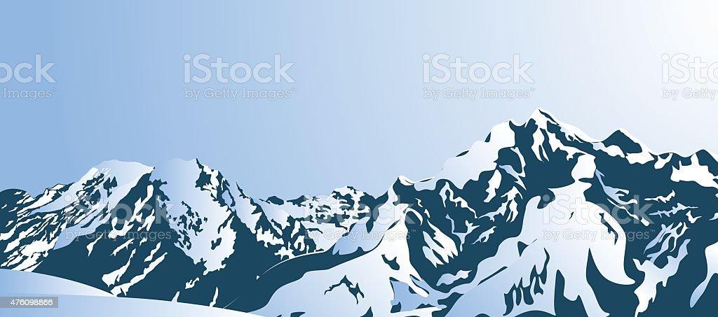 Snowy mountains. vector art illustration