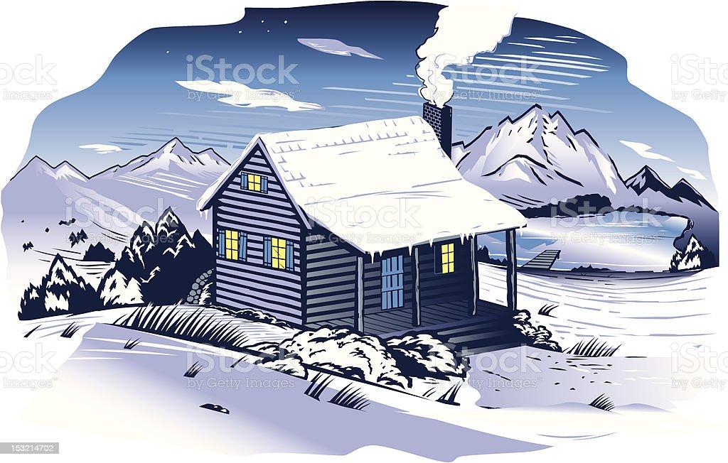 Snowy Mountainside Cabin royalty-free stock vector art