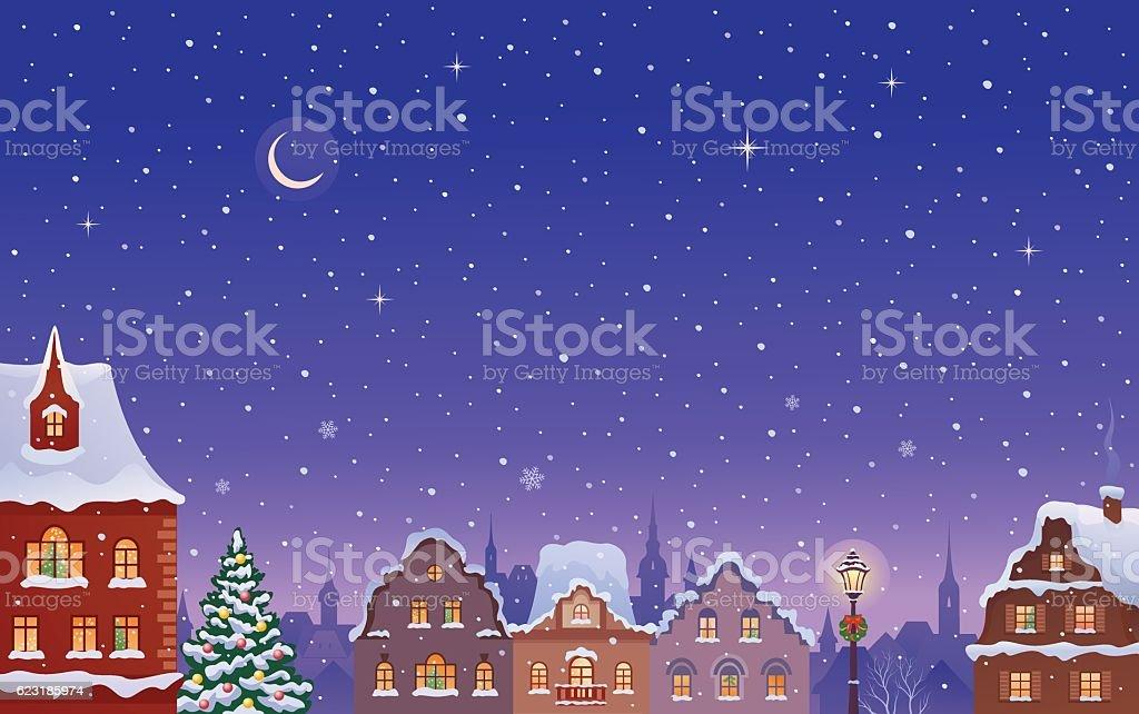 Snowy night town vector art illustration