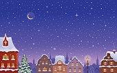 Snowy night town