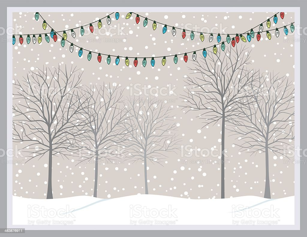 Snowy Park With Trees & Christmas Lights royalty-free stock vector art