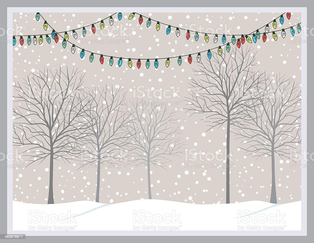 Snowy Park With Trees & Christmas Lights vector art illustration