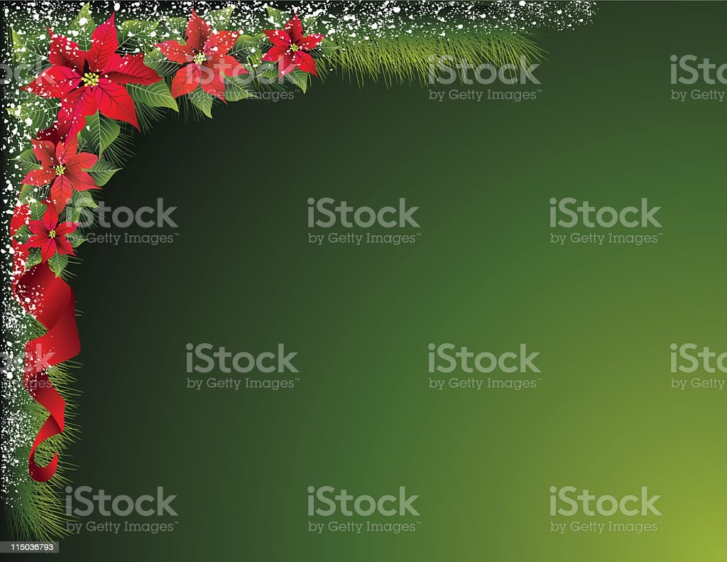 Snowy Poinsettia Background royalty-free stock vector art
