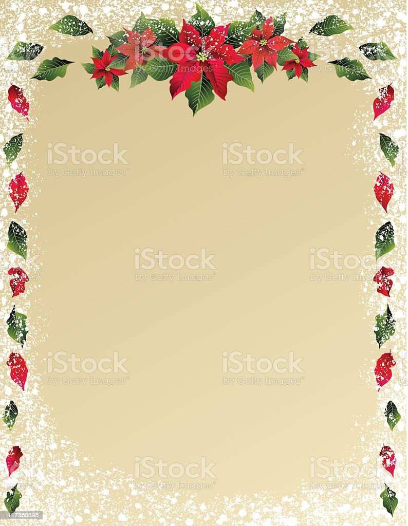 Snowy Poinsettia Border royalty-free stock vector art