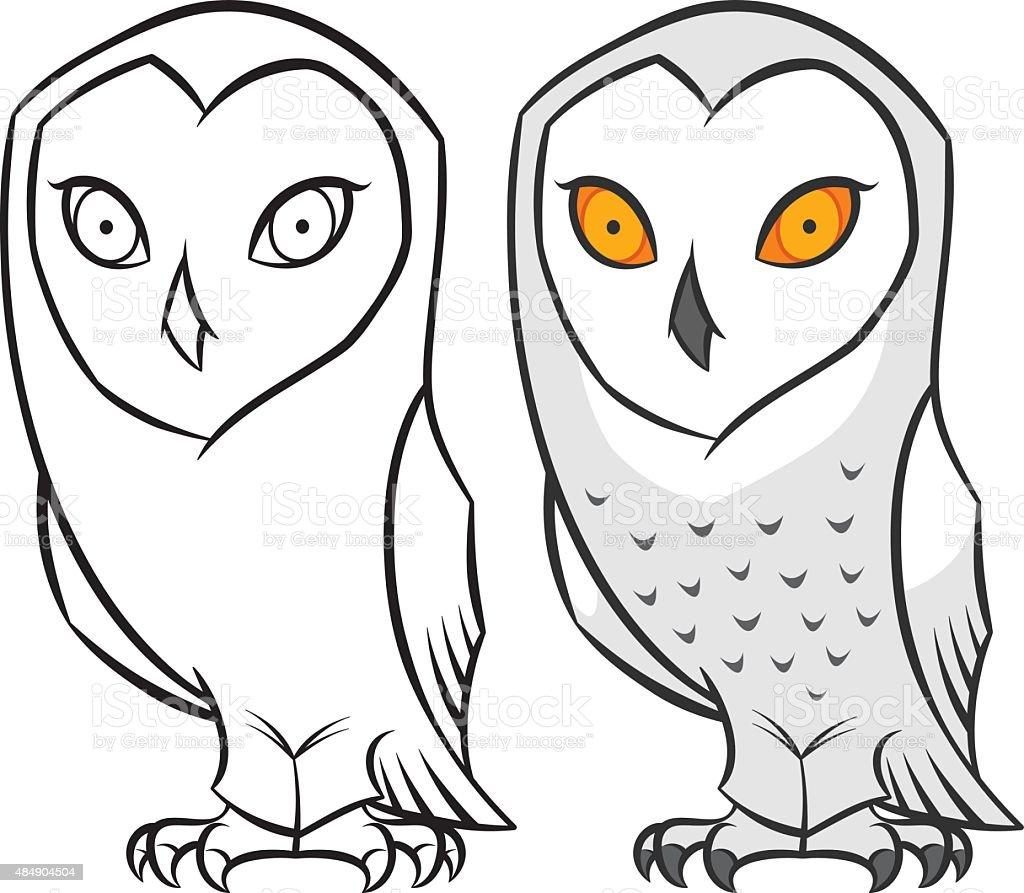 snowy polar arctic owl vector art illustration