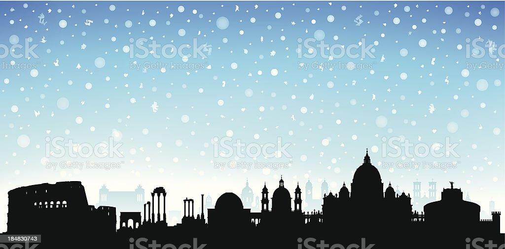 Snowy Rome vector art illustration