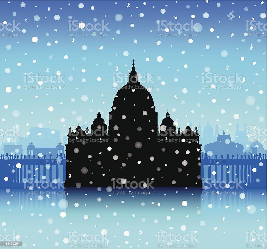 Snowy Saint Peter's Basilica, The Vatican royalty-free stock vector art