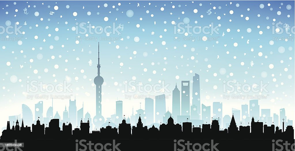 Snowy Shanghai (Each Building is Moveable and Complete) vector art illustration