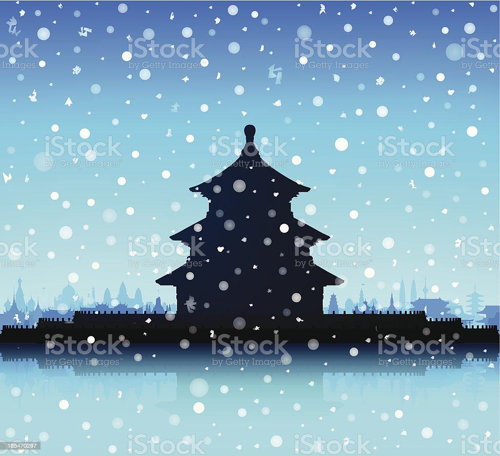 Snowy Temple of Heaven (Beijing) vector art illustration