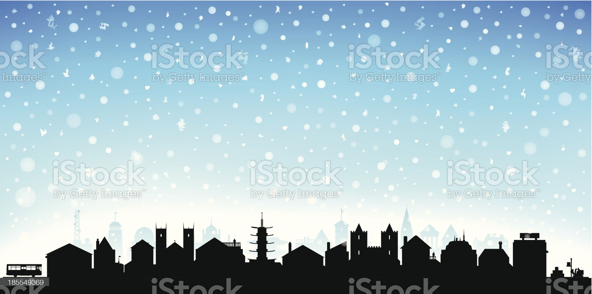 Snowy Town (Each Building is Moveable and Complete) royalty-free stock vector art