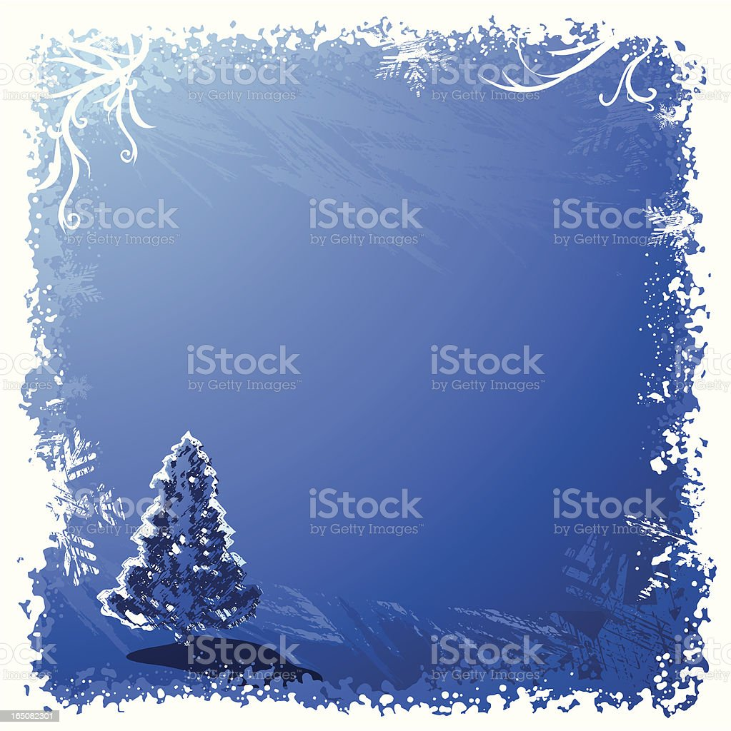 Snowy Tree Background BLUE royalty-free stock vector art