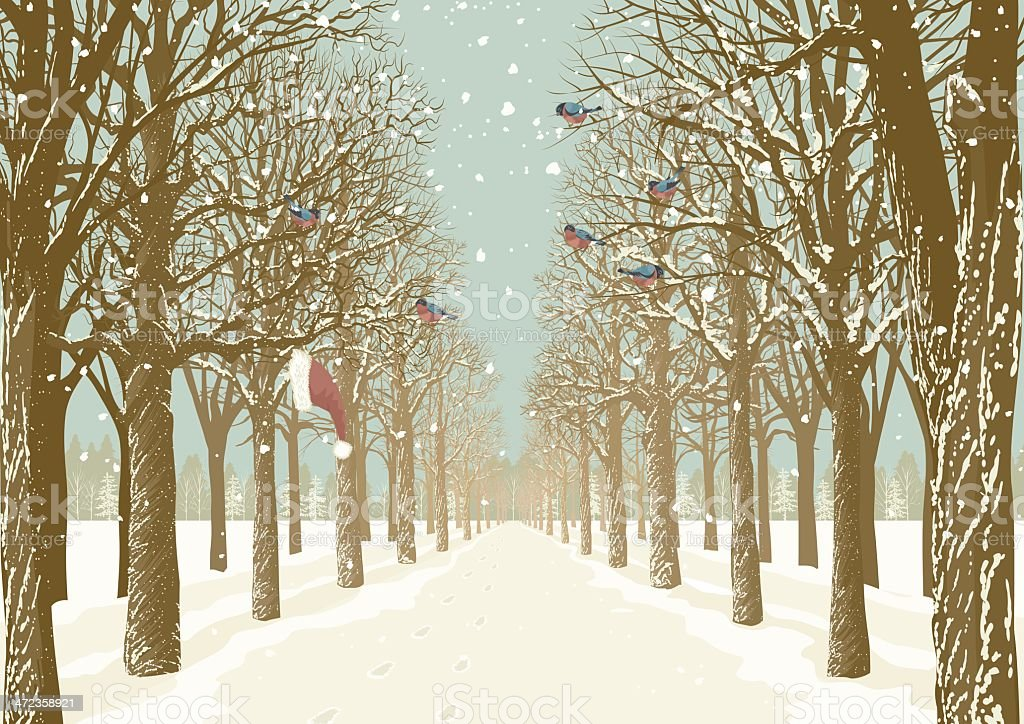 A snowy, tree-lined path with a Santa hat hanging on a tree  vector art illustration