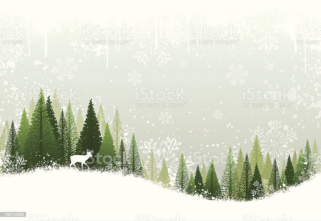 Snowy winter forest background vector art illustration