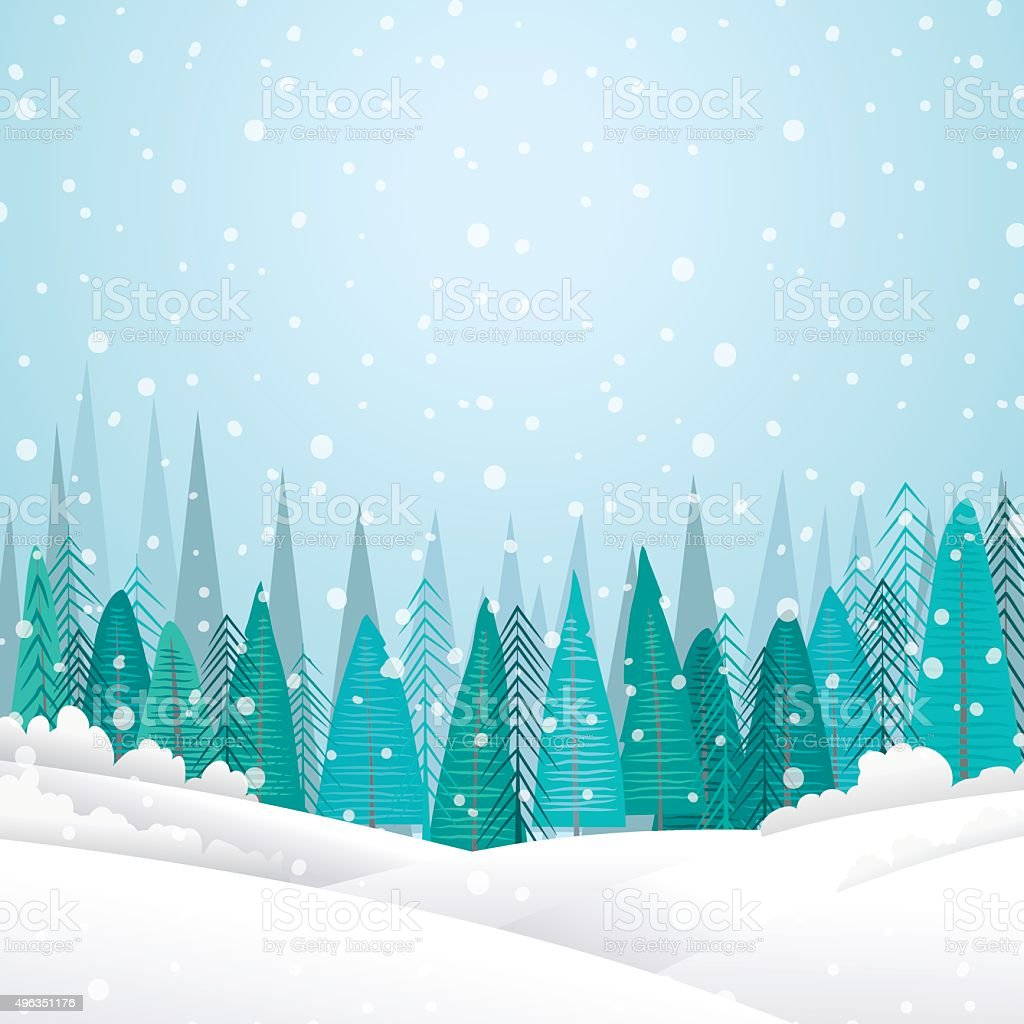 Snowy Winter Landscape With Forest and Hills vector art illustration