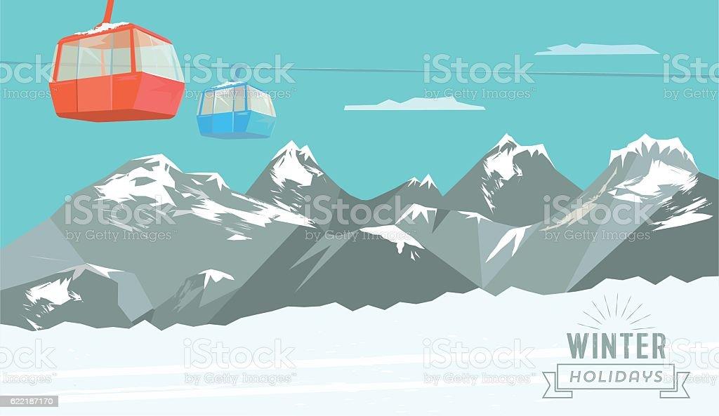 snowy winter mountain landscape background with ski lift vector art illustration