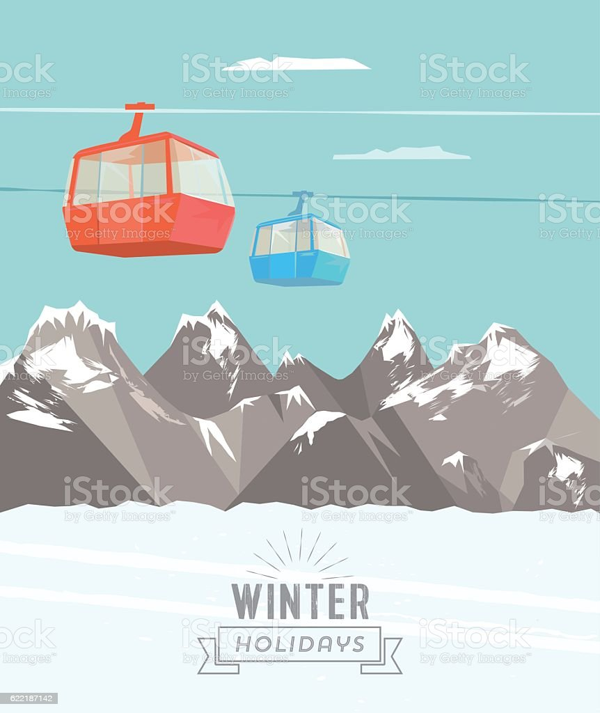 snowy winter mountain landscape poster with ski lift vector art illustration