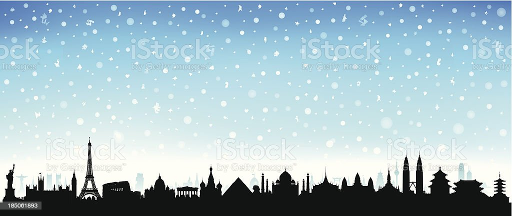 Snowy World (Each Building is Moveable and Complete) vector art illustration