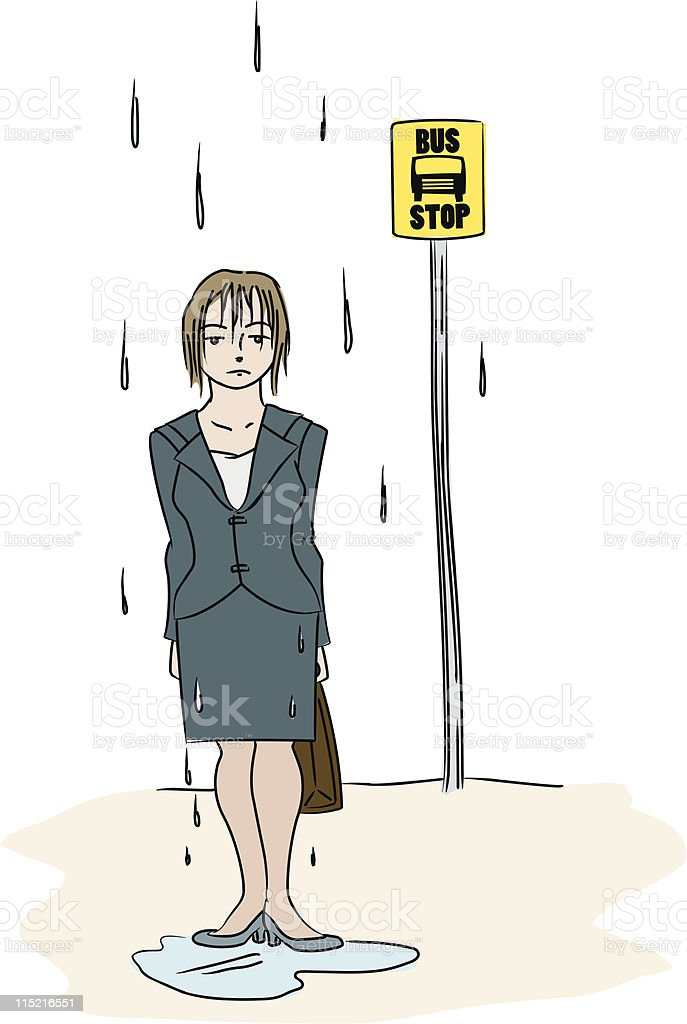 Soaked at the Bus Stop royalty-free stock vector art