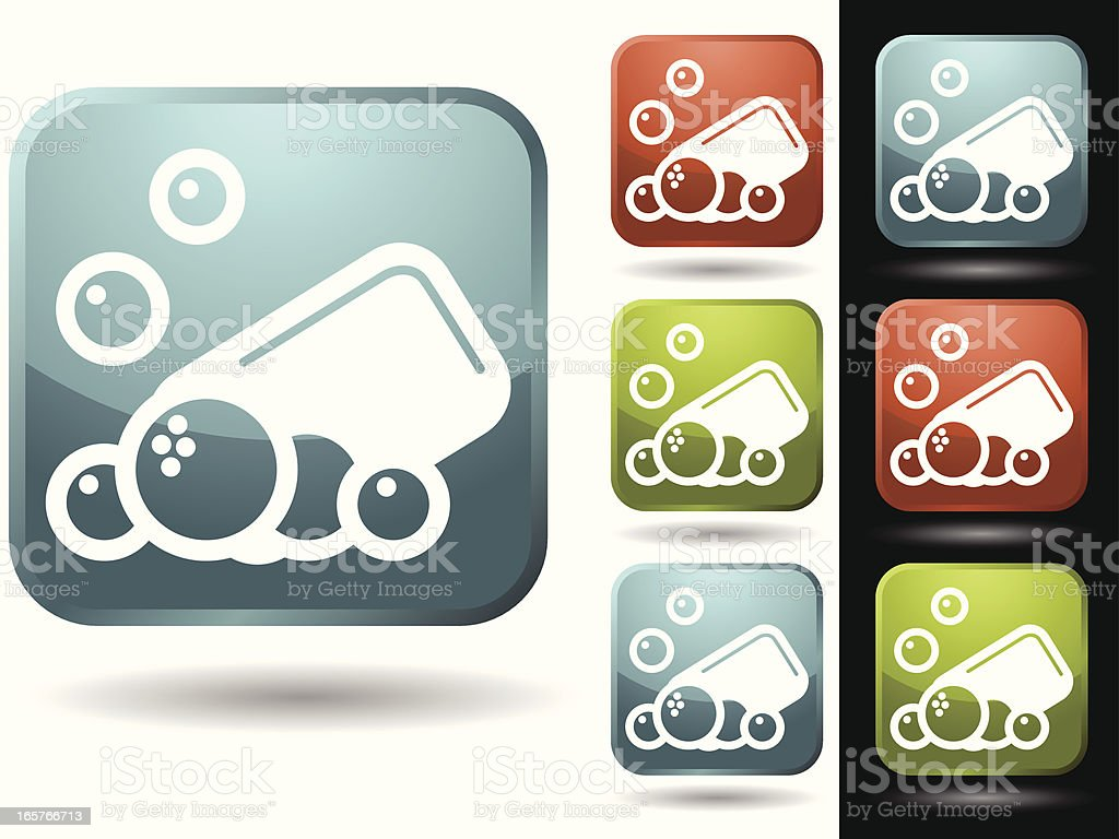Soap and bubbles vector art illustration