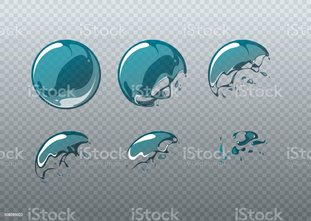 Soap bubble bursting. Animation frames set in cartoon style vector art illustration