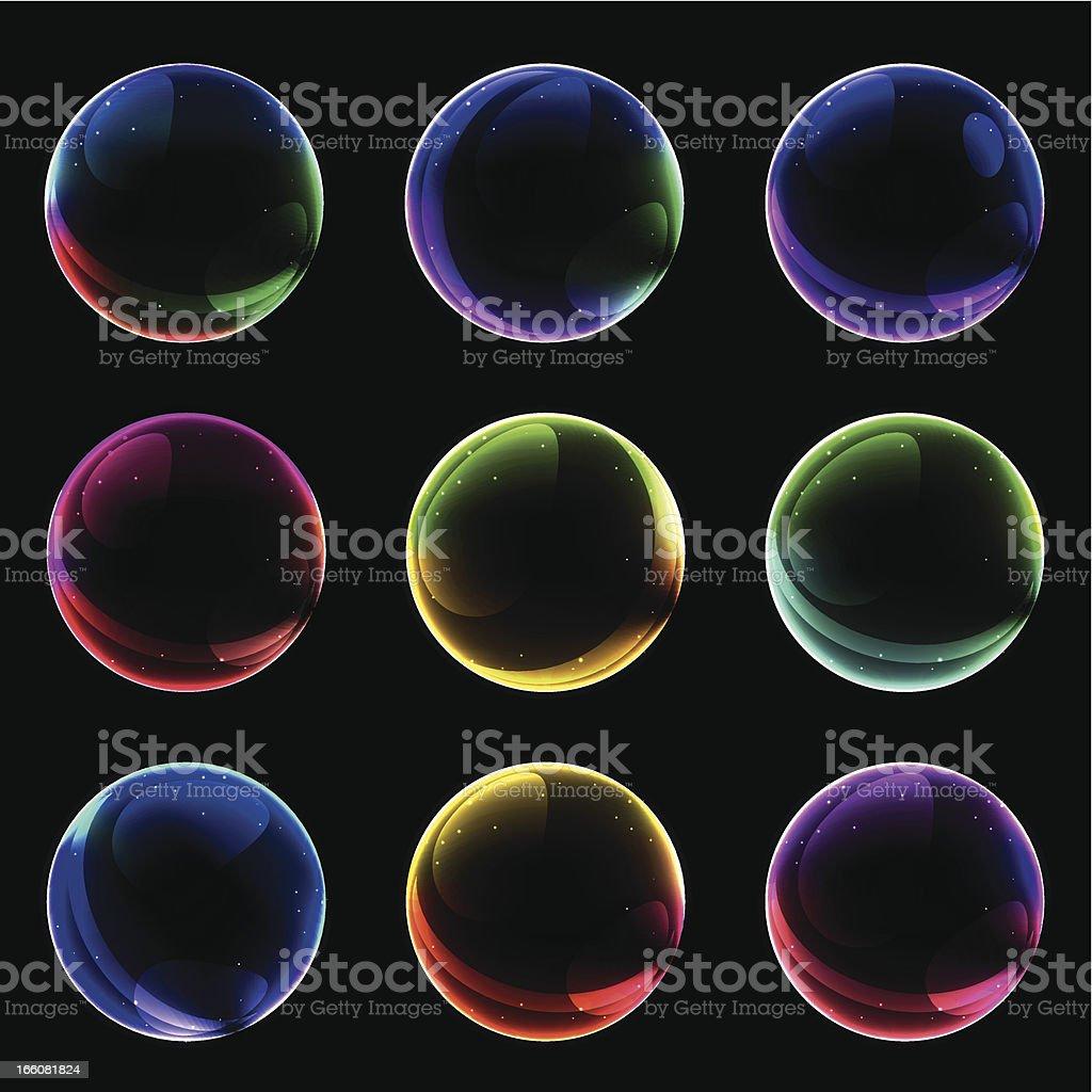 soap bubble buttons vector art illustration