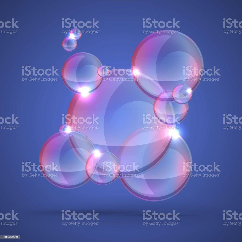 soap bubble on dark background vector art illustration