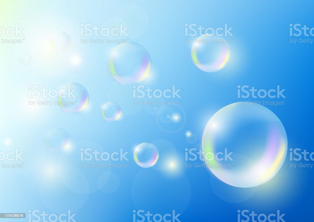Soap bubbles are flying against the blue sky royalty-free stock vector art