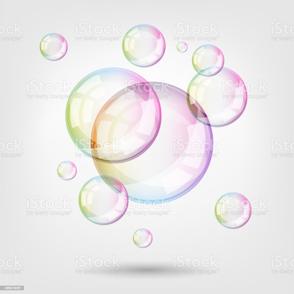Soap bubbles on light background. Contains transparency. vector art illustration