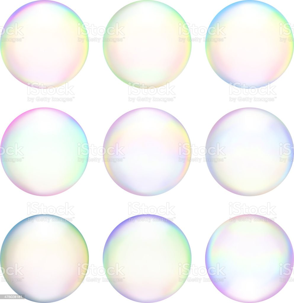 Soap Bubbles royalty free vector icon set Set & Variety vector art illustration