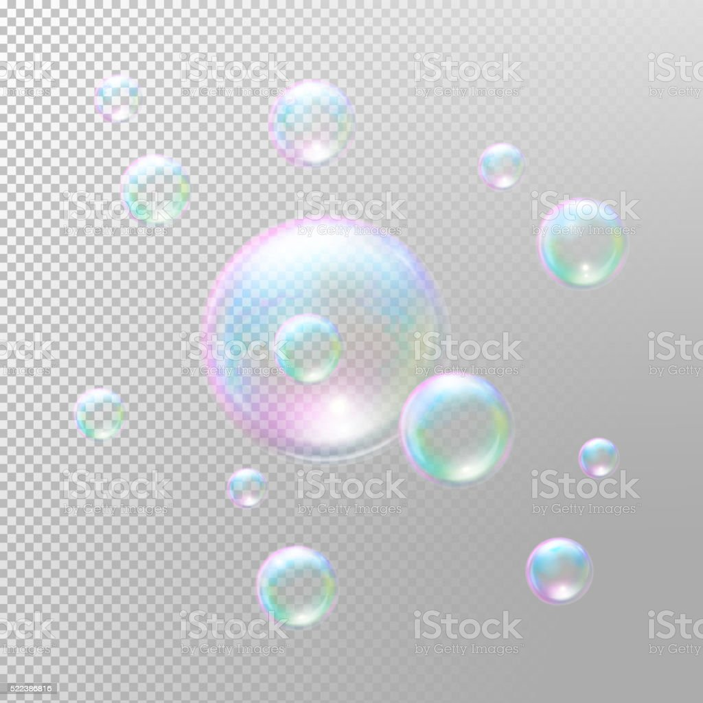 Soap bubbles. Transparent soap bubbles. Realistic soap bubbles vector art illustration