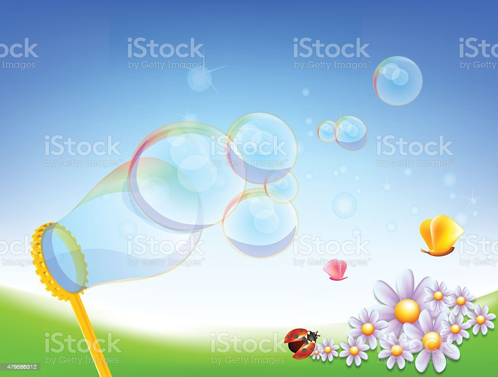 soap bubbles vector art illustration
