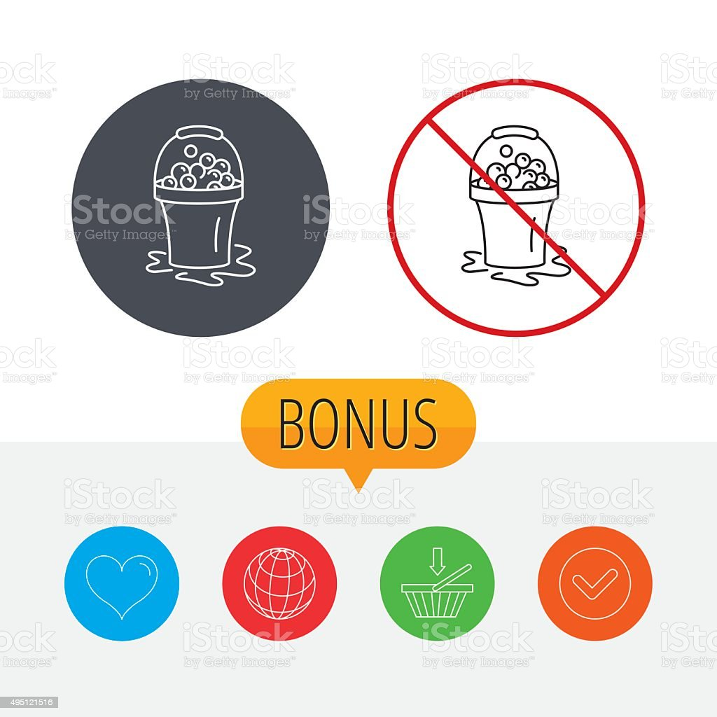 Soapy cleaning icon. Bucket with foam and bubble vector art illustration