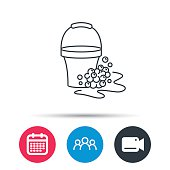 Soapy cleaning icon. Bucket with foam and bubble.