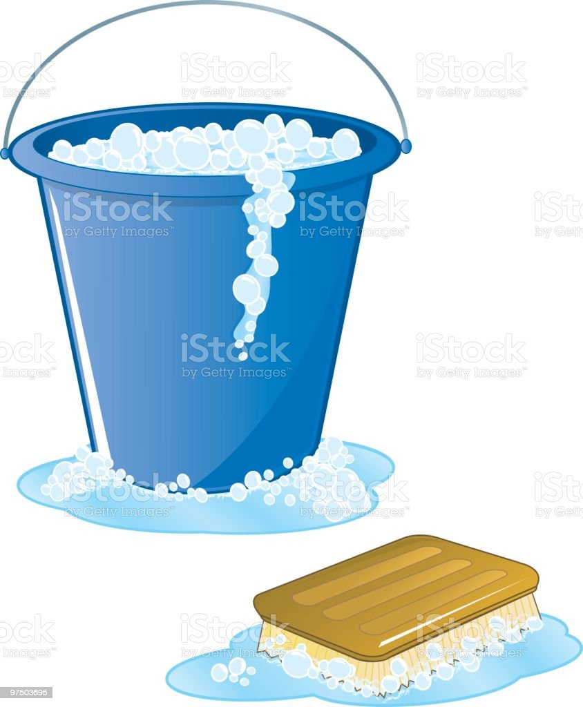 Soapy scrub brush and bucket royalty-free stock vector art