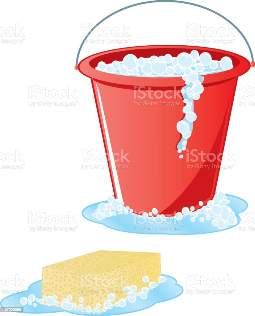 Soapy Sponge and Red Bucket vector art illustration