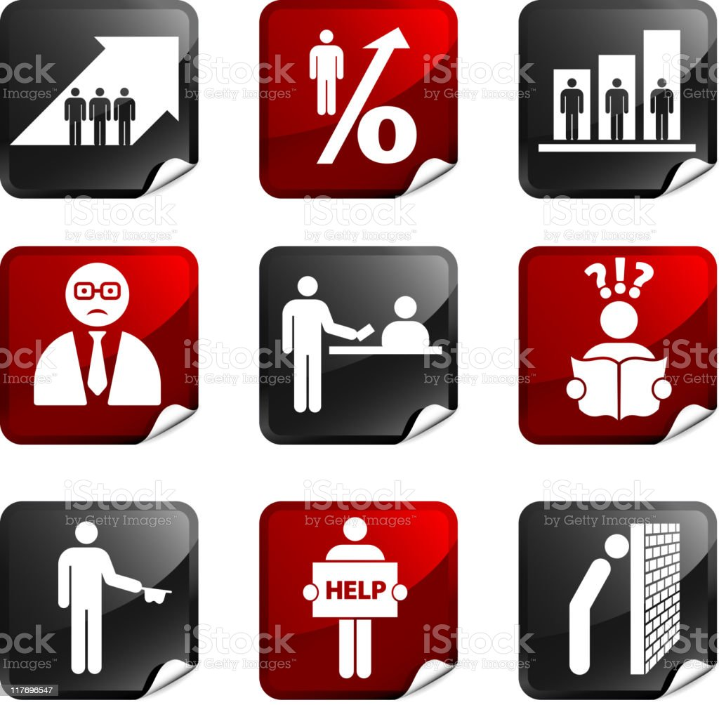 Soaring unemployment royalty free icons royalty-free stock vector art