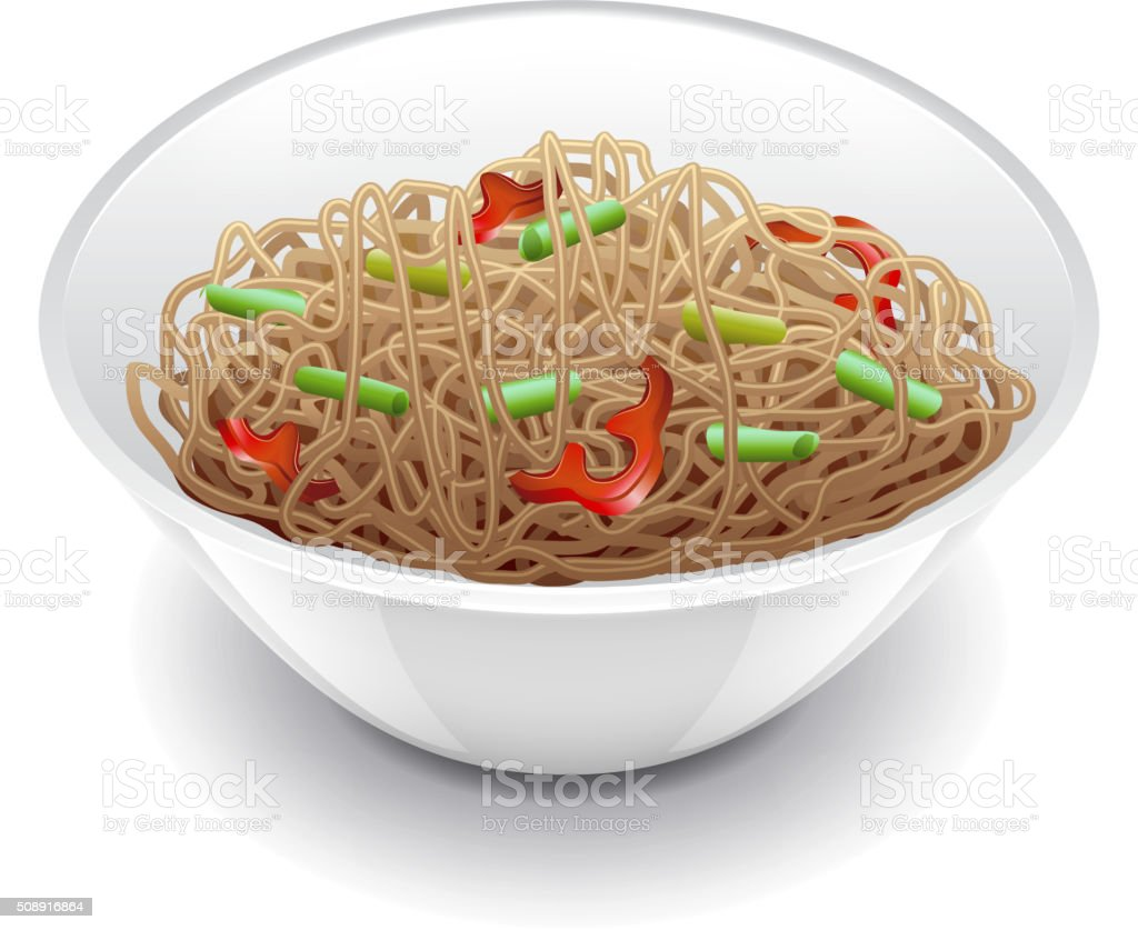 Soba noodles isolated on white vector vector art illustration