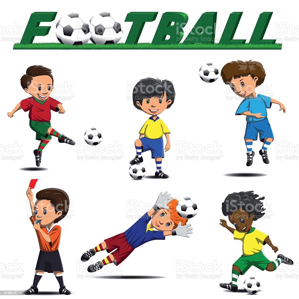 soccer and football players from different teams vector art illustration