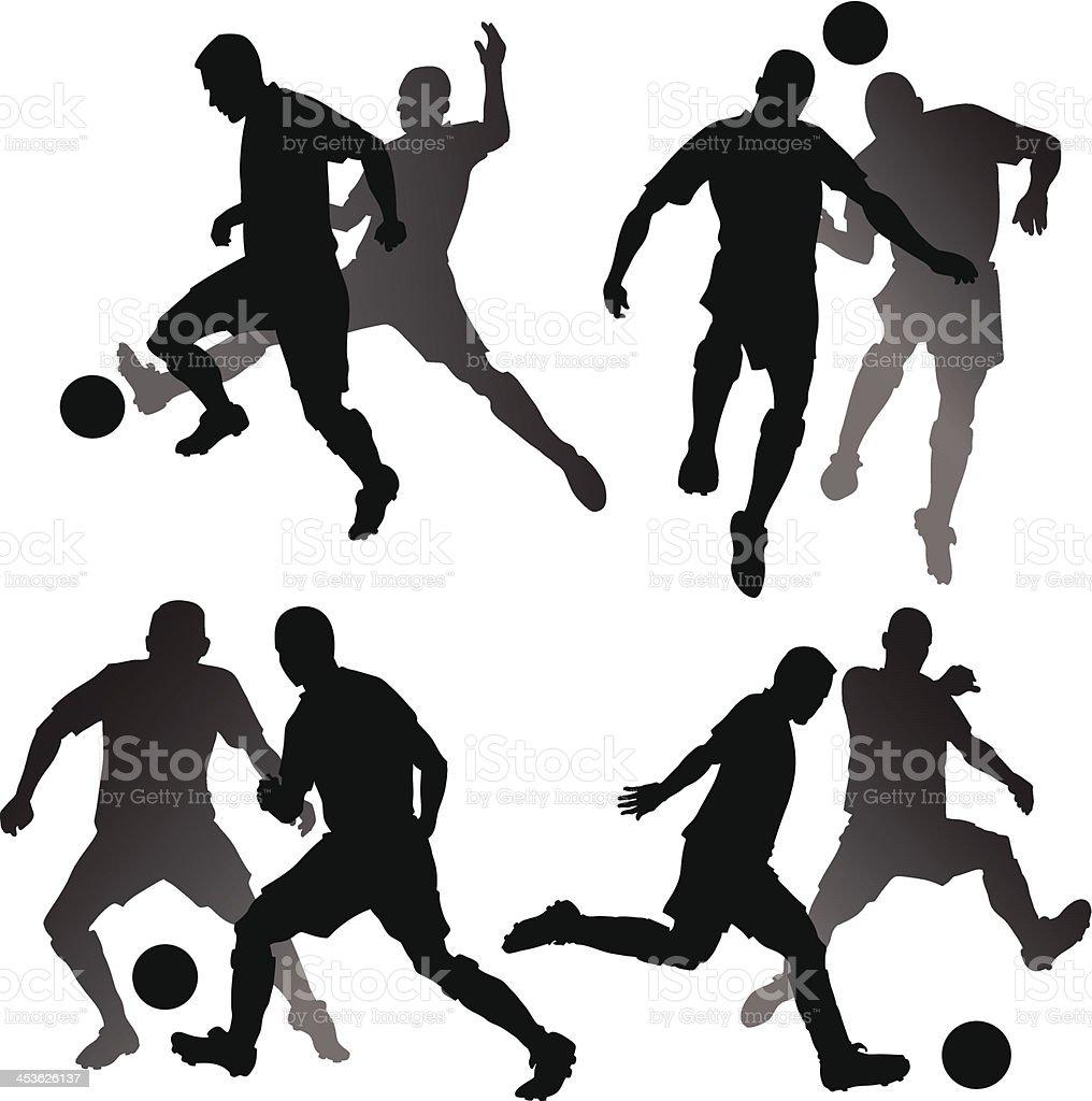 Soccer Attackers V DefendersPlayers Silhouettes vector art illustration